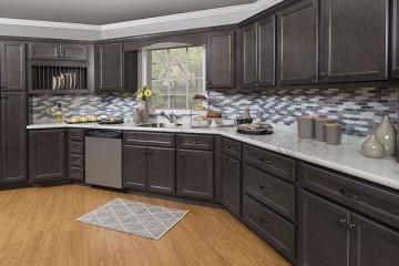 standard overlay cabinet shaker, stainless appliances, tile backsplash, slate cabinets, LVP flooring, quartz countertops