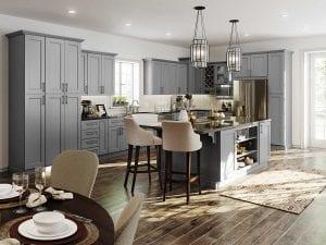 full overlay cabinets, flint gray, island with opening shelving, wood plank tile flooring, herringbone tile backsplash, island seating