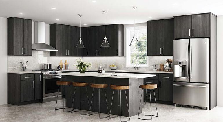 Slab Cabinet Doors, island seating, white quartz countertops, marble backsplash, stainless venthood