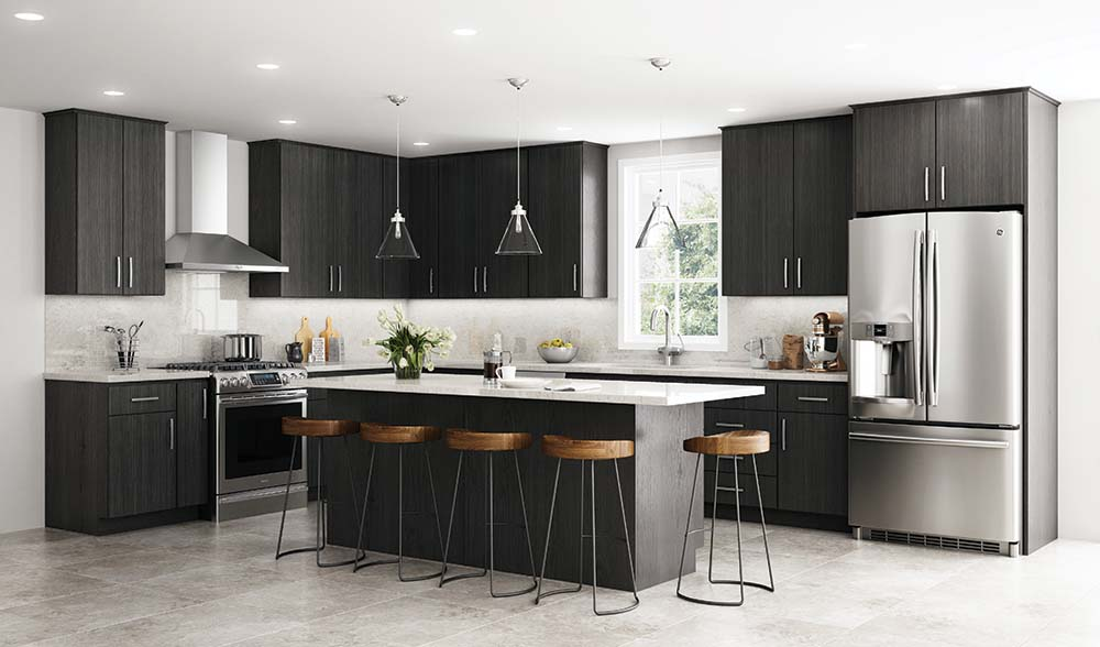 Slab Cabinet Doors, island seating, white quartz countertops, marble backsplash, stainless venthood