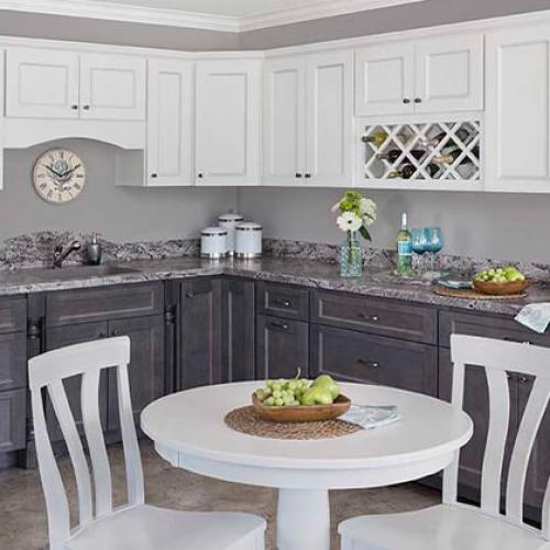 full overlay cabinet doors, two color kitchen, wine rack, granite countertops