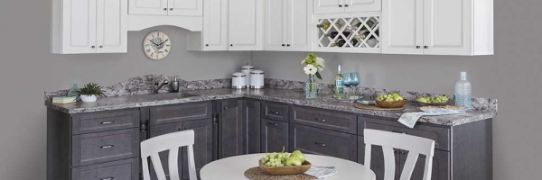 full overlay cabinet doors, two color kitchen, wine rack, granite countertops
